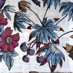 Part of a design of tree trunk and large scale flowers. Two pieces (each with a selvedge) seamed.
