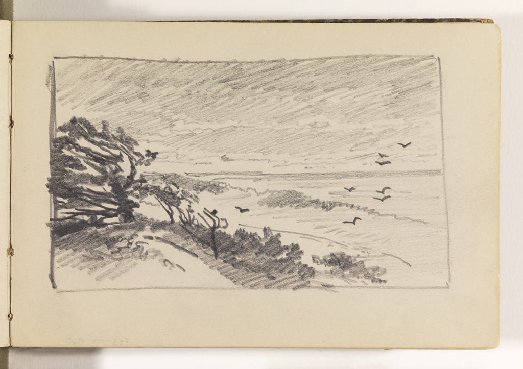 In left foreground, a hill with several trees swept back by the wind. In right middleground, the beach, with several bird flying over it. Ocean in distance at right.