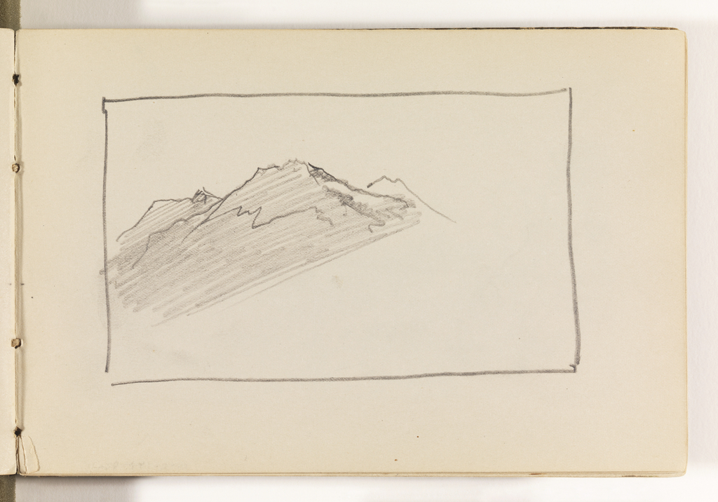 Border enclosing unfinished sketch of three mountain peaks.