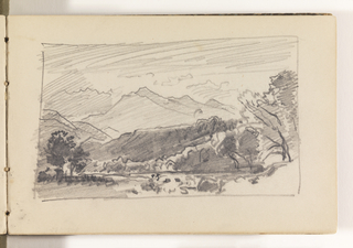 Sketchbook Folio, Countryside with Distant Mountains