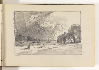Sketchbook Folio, Countryside with Trees, Haystacks, and Dramatic Clouds