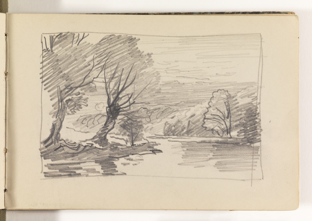River in foreground, extending back, and curving to left out of view. At left, an outcropping of land with two tall trees. Between the trees, in the sky, what could be a full moon (or the sun?). Opposite bank of river is across background covered in trees.