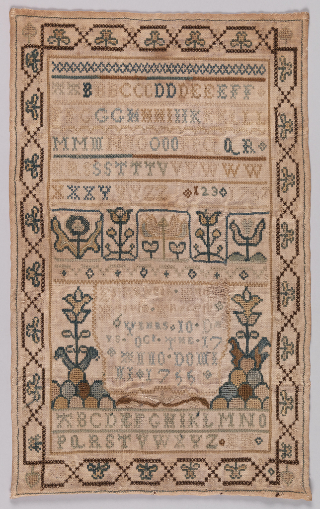 Alphabets, highly stylized floral elements, and an inscription embroidered in colored silks on a white linen ground. Surrounded by a chain link border with four-leaf clovers and spades in the corners. The inscription reads:  Elizabeth Ann Herrin Andrews 6 years 10 days October the 17th Anno Domini 1755