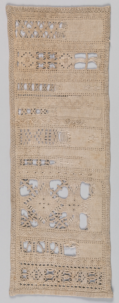 Unfinished sampler with eighteen cross bar borders, cutwork, and embroidery alternating in Renaissance designs. Hem decorated with embroidery.
