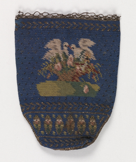 Small ladies' purse worked in crochet with a design of birds on a basket of flowers, with flower and leaf borders, on a blue ground.