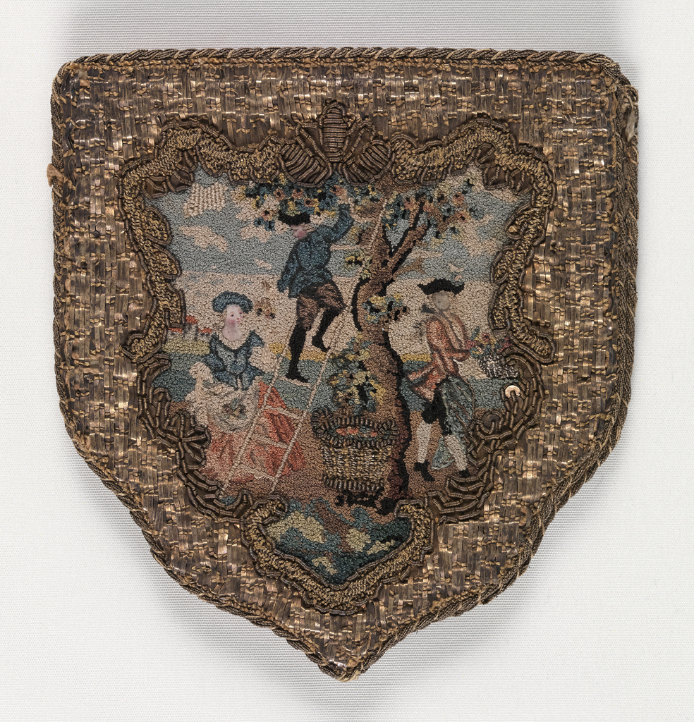 Shield-shaped purse trimmed with gold lace and lined with pink taffeta. On each side, gold thread embroidery and couched gold strip frame a scene embroidered in colored silks. On one side, a woman and two men pick fruit from a tree with a ladder; on the other, a house on a island in a lake in the background, with a coach and horses passing along a road in the foreground.