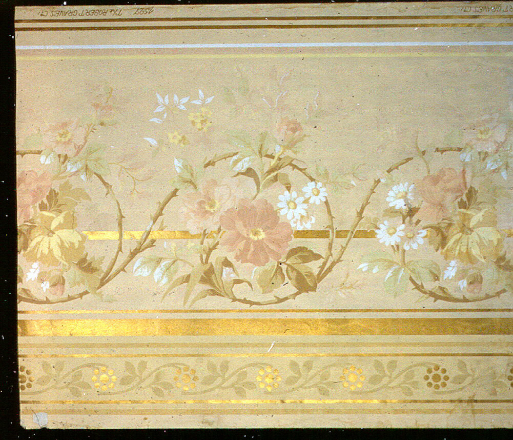 Daisy and rose vine design in white, pink, yellow and green on tan ground. Stripes and conventional border, mica finish.