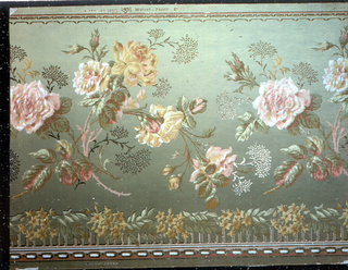 "Green ground with roses in pink, yellow, and green, funnel in bronze, border in pink and red with yellow mimosa. Mica finish. ""1850 Watson, Foster"" printed on edge."