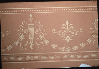 Cocoa colored rough paper with quiver, conventional iris and lily and ribbon design, borders; mica finish. Made by W. Campbell and Co. No. 2285. Printed on ingrain paper.