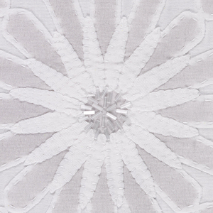Sample of white-on-white appliqué with white and clear bugle beads in a floral pattern of large and small flower heads. Silver metallic paint is applied to some of the petals.