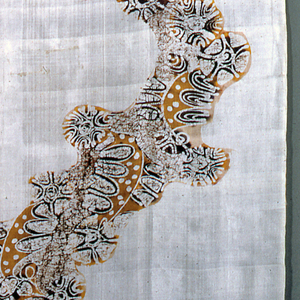 """Thin cream white silk sari fabric with pattern decorating length of material in shades of brown and old gold; batik technique. Design is a free arrangement of half circles containing oblongs and broken """"crackle,"""" moving unevenly and freely."""