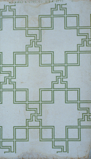 "A fret design of two parallel green lines suggestive of a Chinese Chippendale pattern. The fret work design masks rectangular design. White background. Selvedge marked ""M.H. Birge and Sons Co. U.S.A. 4779-2""."