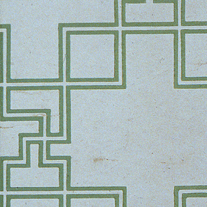 """A fret design of two parallel green lines suggestive of a Chinese Chippendale pattern. The fret work design masks rectangular design. White background. Selvedge marked """"M.H. Birge and Sons Co. U.S.A. 4779-2""""."""