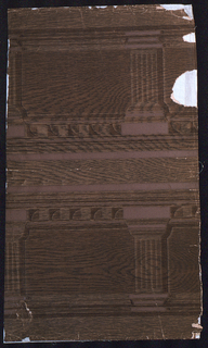 """Simulated oak in shades of brown, to be cut in half to form friezes. Marked: M.H. Birge and Sons Co., U.S.A."""" Design, architectural detail."""