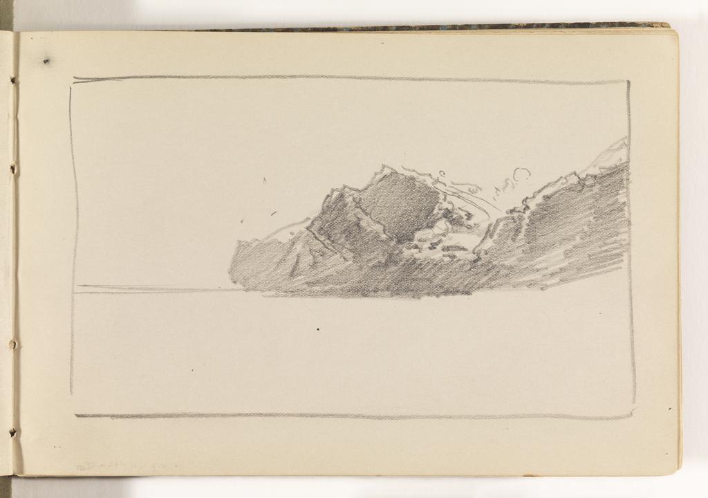 Border box containing horizon line. At right, on horizon, rocky mountains.
