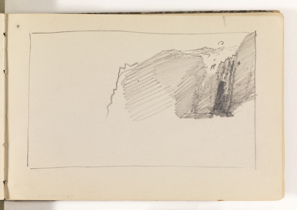 Border box with quick, unfinished study of cliffs at right.