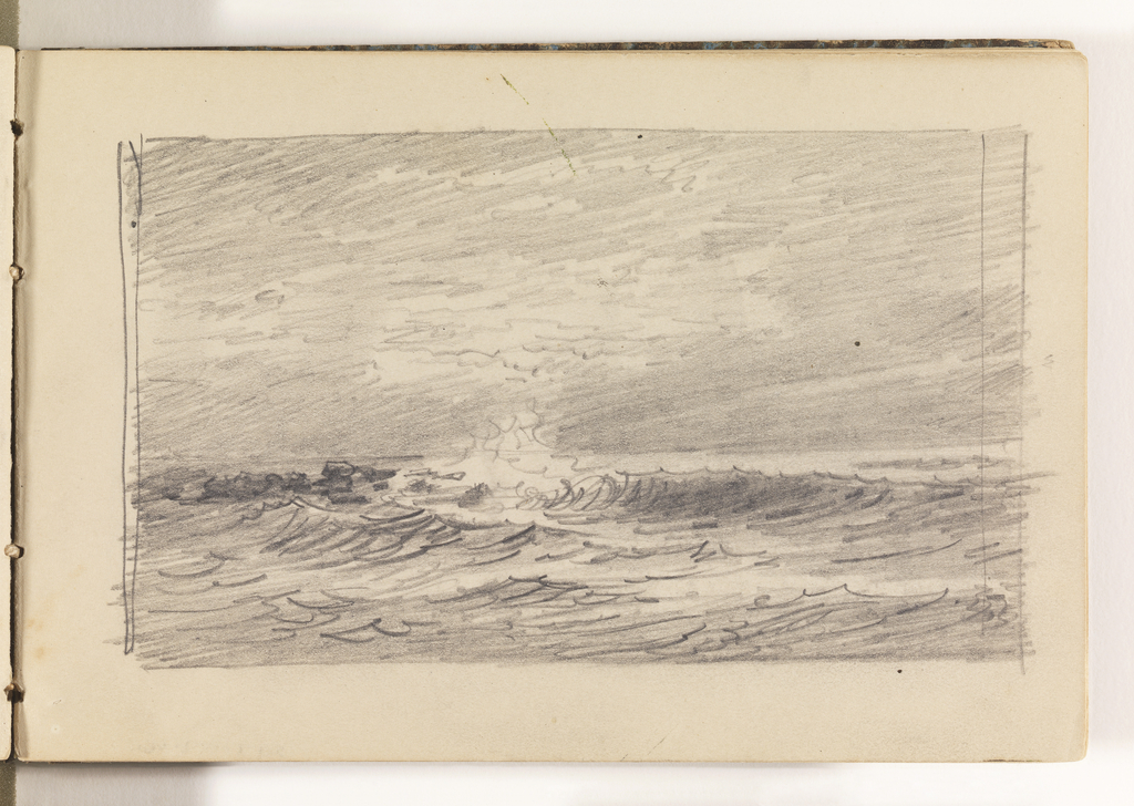 Sketch of ocean with choppy, white-capped waves breaking in center, near horizon.