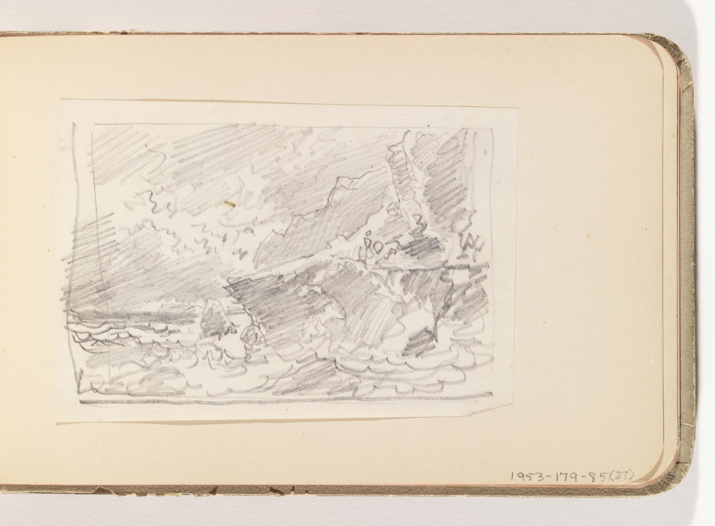 Extremely rough, energetic sketch of cliffs on right with sun breaking through clouds.