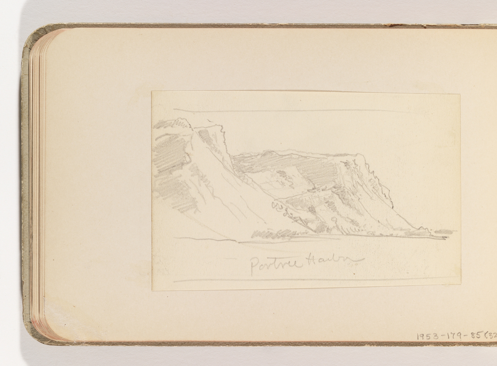 Quick sketch of cliffs in middle distance over water in foreground