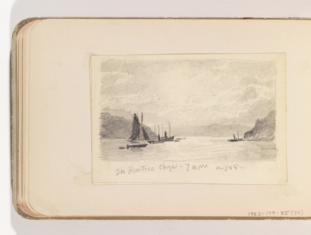 Boats moored near land masses and distant mountains on the right and left side of composition.