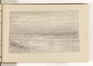 Sketchbook Folio, Sketch of Serene Ocean on Beach, 1870–85