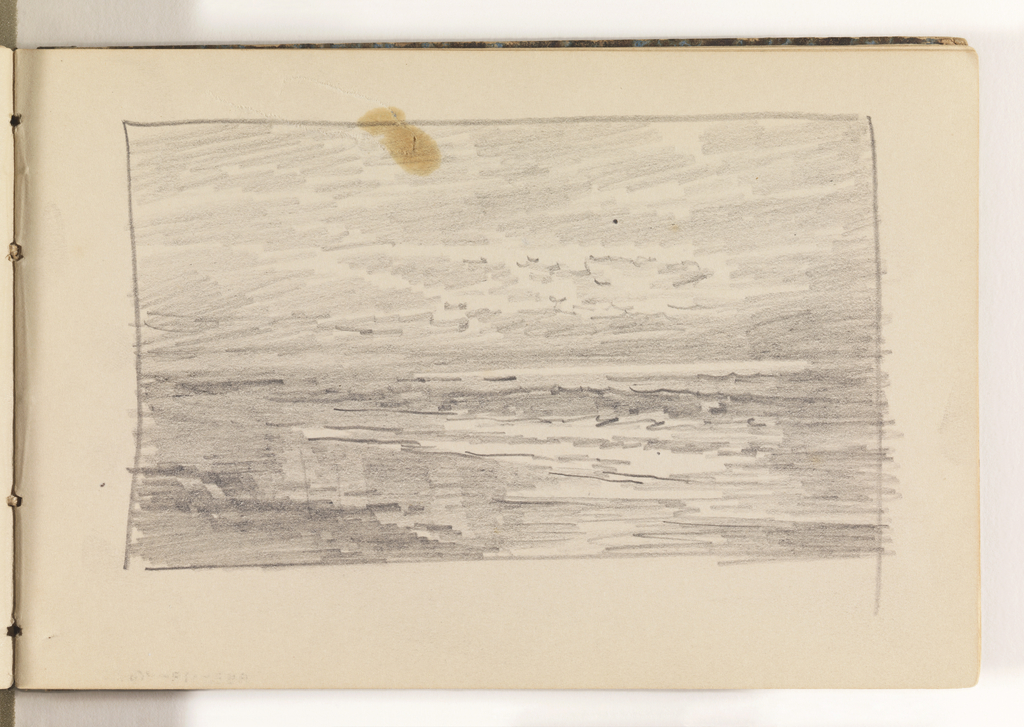 Rough sketch of beach with calm, flat ocean coming on shore.