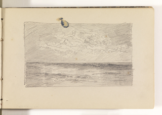 Sketch of calm ocean with small waves. Sky full of detailed cloud contours.