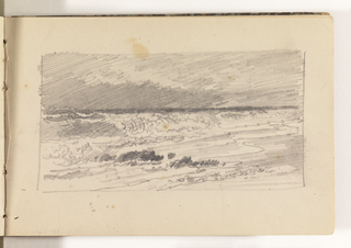 Study of beach with large, rough waves crashing on shore.