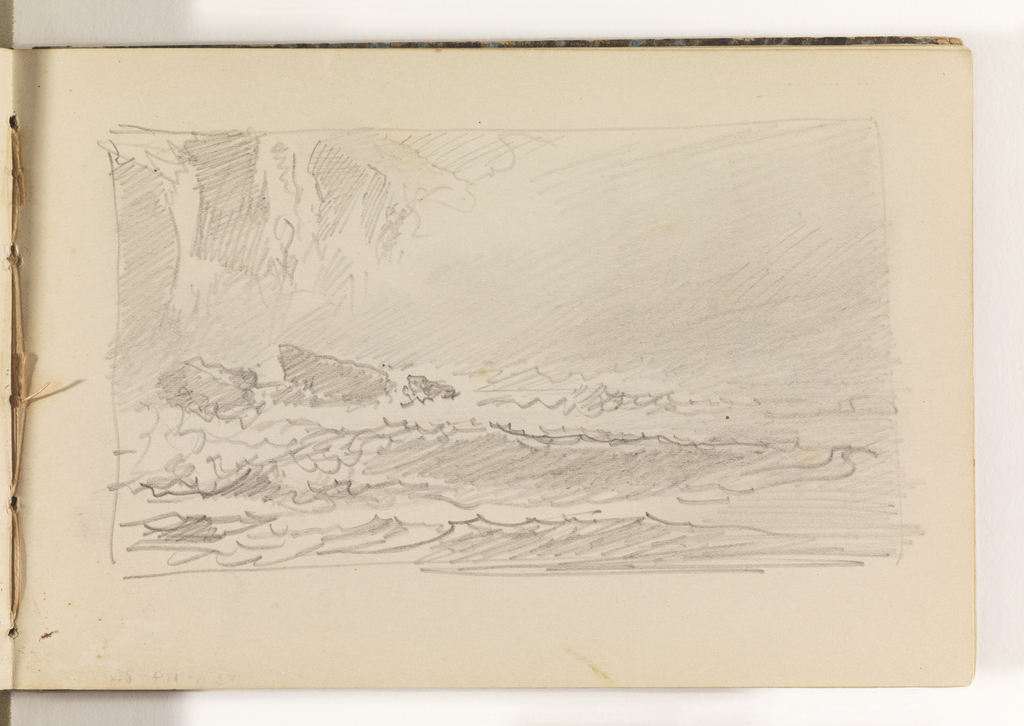 Rough waves crash against three rocks in left middleground. In left background, tall, lightly-sketched cliffs fade out at the right, possibly into a fog bank.