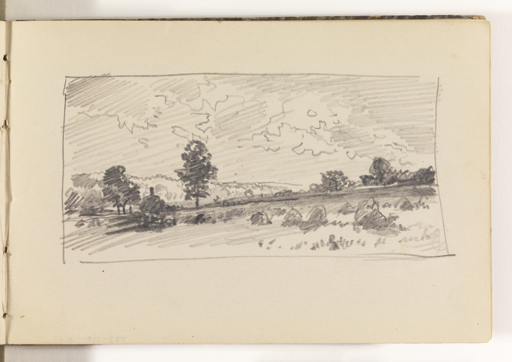 Field with haystacks in right foreground. House in distance at left, with one tree at right and a few trees at left. Additional stands of trees on horizon at right, and mountains at left in far distance.