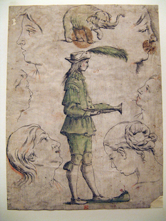 Central image of a page holding a plate with a fish that forms the letter E with smaller drawings of two women's heads, four details of women's heads, and an elephant.