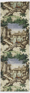 Vignettes of river bank with bridge and buildings.