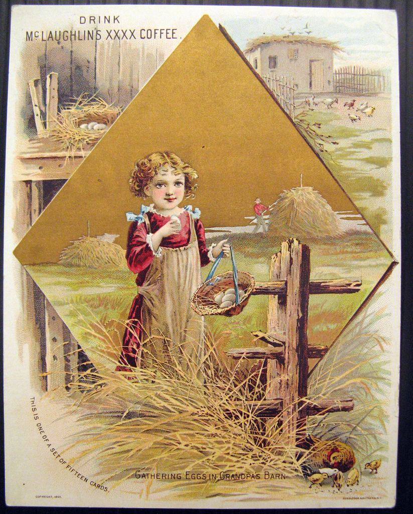 Image of a small girl standing in front of a fence and haying holding a basket of eggs in one hand and a single egg in the other.  At the top left corner a glimpse of a hens' nest, at upper right corner a view of a farm.