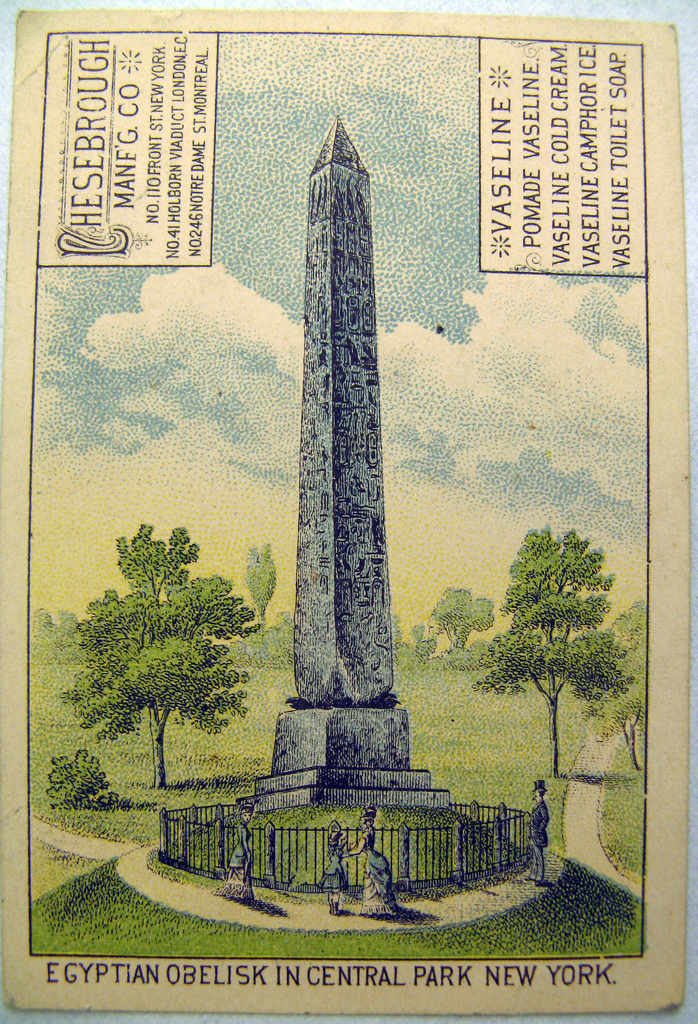 Depicted on recto is the obelisk in Central Park, New York, NY.