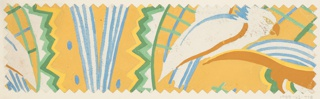 Pattern of abstract shapes—lines and zigzags—with bird motifs in blue, yellow, and shades of green.