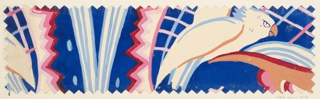 Pattern of abstract shapes—lines and zigzags—with bird motifs in blue with dark red, blue, and pink.