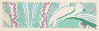 Pattern of abstract shapes—lines and zigzags—with bird motifs in light green and periwinkle.
