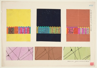 Abstract shapes in pink, yellow, and orange; saw-toothed edge, flanked by white.