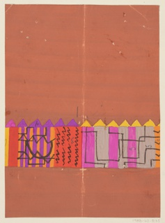 Abstract shapes in brown, purple, and fuschia with a saw-toothed edge.