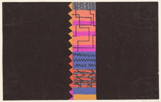 Abstract shapes in black, purple, and orange with a saw-toothed edge.