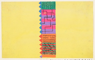 Abstract shapes in yellow, lavender, and orange with a saw-toothed edge.