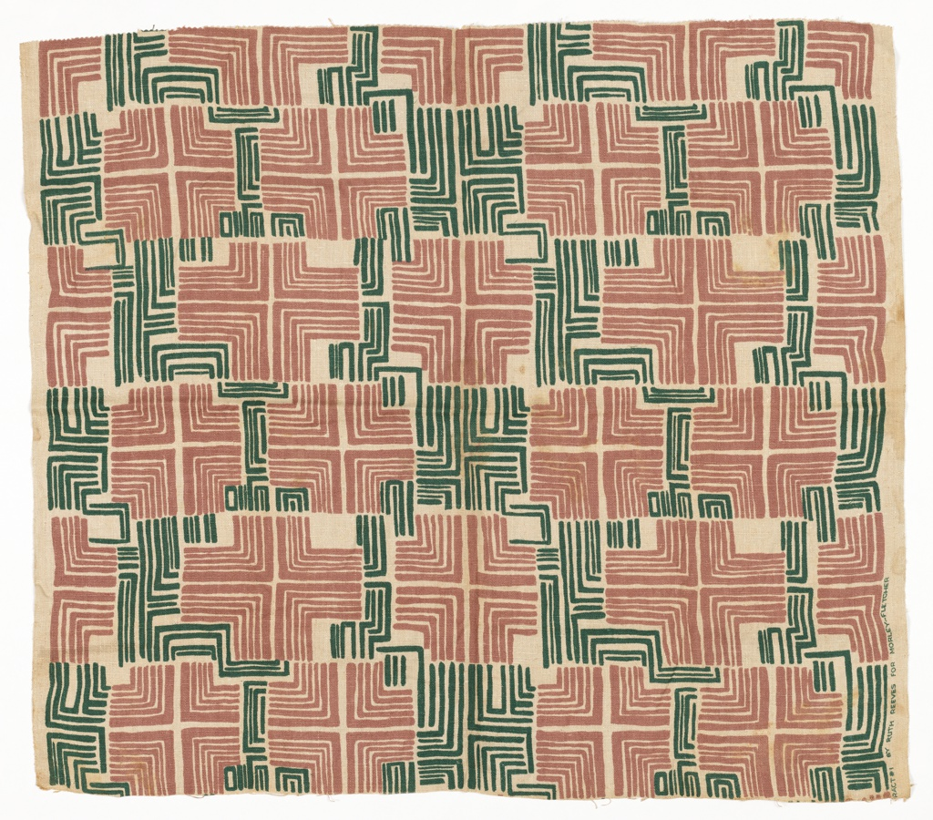 Heavy-weight natural-colored linen with repeating pattern of crosses and partial crosses formed by closely set L-shaped lines of varying widths in dark green and dusty pink.