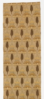 Light brown runner with an elaborate Art Nouveau design of dark brown stems with curling blossoms in off-white and dark yellow. Blossoms are surmounted by small yellow flower spigs.