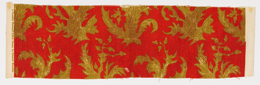Heavyweight furnishing fabric with a design of dark yellow-green spiky leaves and buds on a crimson ground. Isolated areas of small hatch marks in light brown,