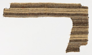 Irregular piece of nubby striped woven fabric in brown, black and cream-colored yarns.