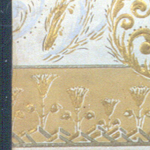 """Entire field pebble embossed while the design is again embossed over the pebble field which is old ivory. Tan border at bottom with a stiff formal thistle design. Remainder of border with ivory field has a scroll design in gold with gray-blue shading. A pale scroll in all gray-blue appears in background. At top is a narrow horizontal thistle border. Top edge is marked: """"Campbell & Co., N.J. - 1996""""."""