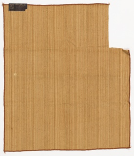 Heavyweight slubbed furnishing fabric in light brown with a vertical striae effect.