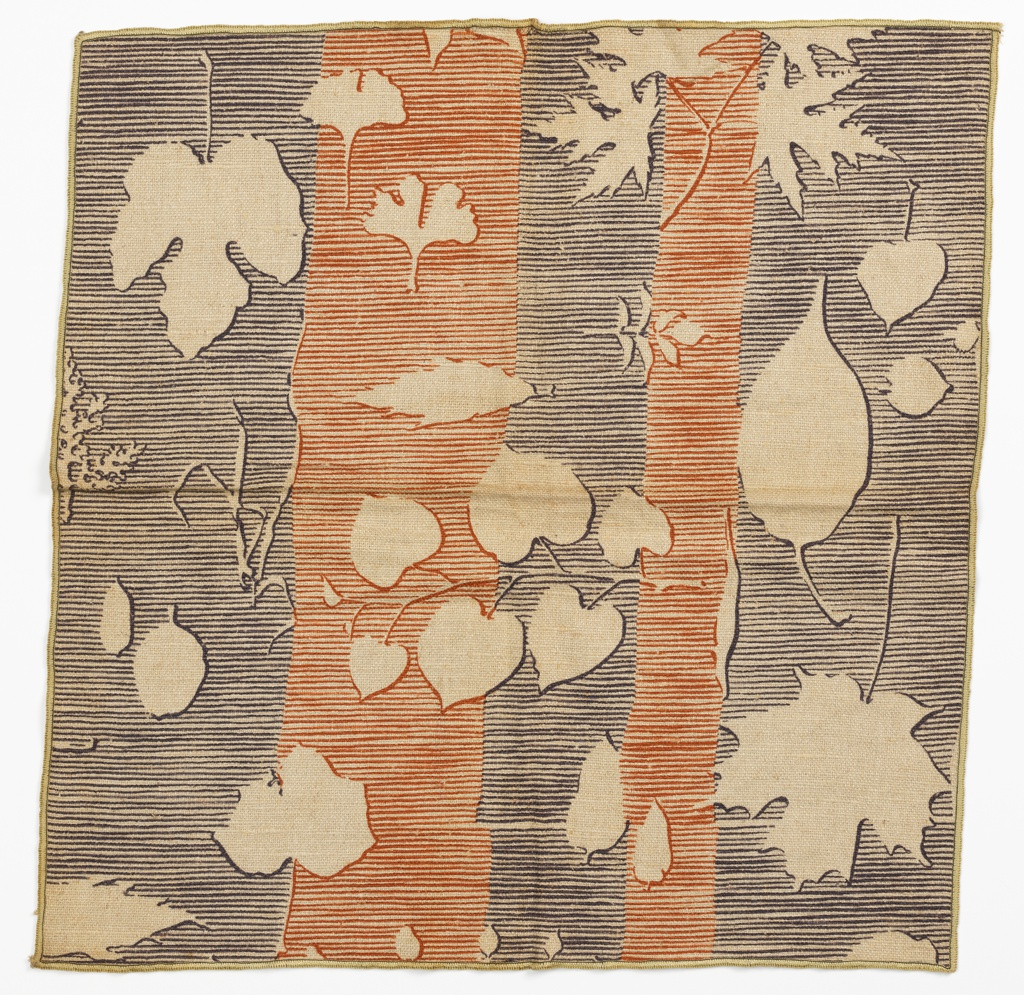 Irregular vertical stripes of blue-grey and rust red are formed by a series of rough horizontal lines. Superimposed over these stripes are outlines of a variety of different leaf shapes in reserve.