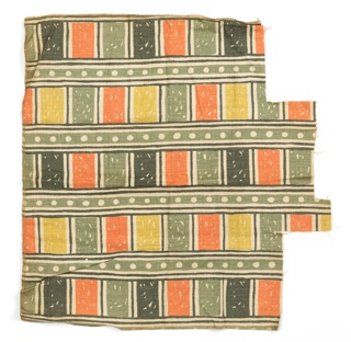 Length of printed fabric has a design of light green horizontal stripes containing a row of white polka dots. In between stripes are rectangular compartments containing shades of green and pale orange.
