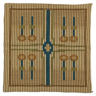 Embroidered square with a geometrical and striped design is divided into four sections by blue and olive green bands. Each section has a pair of two flower stems, highly geometricized. Design has a strong overall grid-like effect made from narrow dark brown stripes.